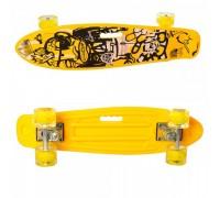 Скейт Пенни Борд (Penny Board) цветной со светящимися колесами22 дюйма 0749-5 желтый