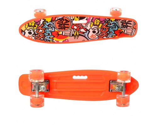 Скейт Пенни Борд (Penny Board) цветной со светящими колесами 22 дюйма 0749-5 оранжевый