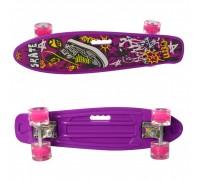 Скейт Пенни Борд (Penny Board) цветной со светящими колесами 22 дюйма 0749-5 фиолетовый