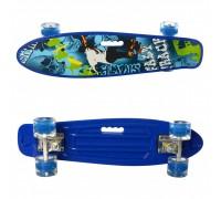 Скейт Пенни Борд (Penny Board) цветной со светящими колесами 22 дюйма 0749-5 синий