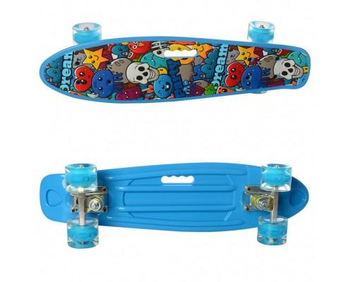Скейт Пенни Борд (Penny Board) цветной со светящими колесами 22 дюйма 0749-5 голубой
