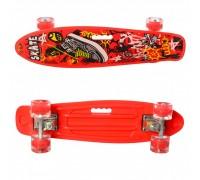 Скейт Пенни Борд (Penny Board) цветной со светящими колесами 22 дюйма 0749-5 красный