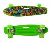 Скейт Пенни Борд (Penny Board) цветной со светящимися колесами 22 дюйма 0749-5 зеленый