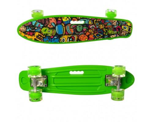 Скейт Пенни Борд (Penny Board) цветной со светящими колесами 22 дюйма 0749-5 салатовый