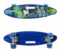 Скейт Пенни Борд (Penny Board) цветной со светящимися колесами и ручкой синий MS 0461-2