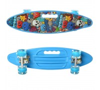 Скейт Пенни Борд (Penny Board) цветной со светящими колесами и ручкой голубой  MS 0461-2