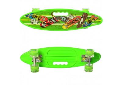 Скейт Пенни Борд (Penny Board) цветной со светящимися колесами и ручкой салатовый MS 0461-2