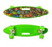 Скейт Пенни Борд (Penny Board) цветной со светящими колесами и ручкой зеленый MS 0461-2