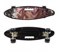 Скейт Пенни Борд (Penny Board) цветной со светящимися колесами и ручкой черный MS 0461-2