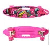 Скейт Пенни Борд (Penny Board) цветной со светящими колесами и ручкой розовый MS 0461-2