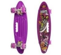 Скейт Пенни Борд (Penny Board) цветной со светящимися колесами и ручкой фиолетовый MS 0461-2