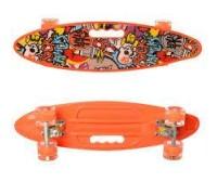 Скейт Пенни Борд (Penny Board) цветной со светящими колесами и ручкой оранжевый MS 0461-2