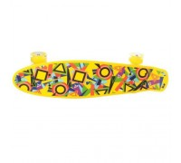 Скейт Пенни Борд (Penny Board) со светящими колесами 22 дюйма желтый MS0749-1