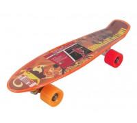 Скейт Пенни Борд (Penny Board) со светящимися колесами 22 дюйма оранжевый MS0749-1