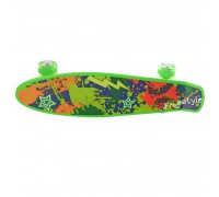 Скейт Пенни Борд (Penny Board) со светящими колесами 22 дюйма зеленый MS0749-1