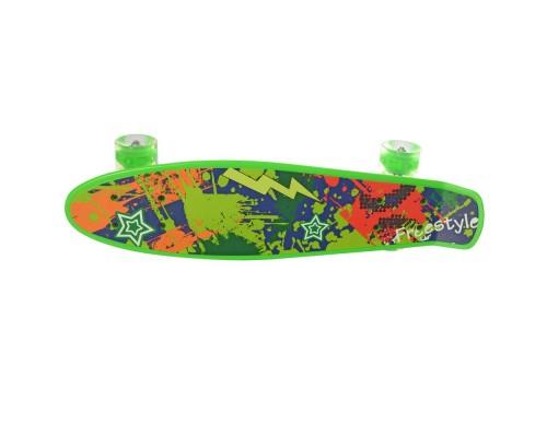 Скейт Пенни Борд (Penny Board) со светящимися колесами 22 дюйма зеленый MS0749-1