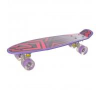 Скейт Пенни Борд (Penny Board) со светящими колесами 22 дюйма фиолетовый MS0749-1