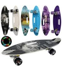 Скейт Пенни Борд (Penny Board) цветной со светящимися колесами и ручкой MS 0461-7 3 вида