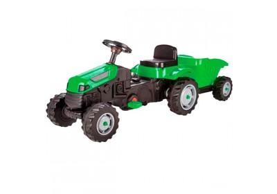 Толокар педальный трактор с прицепом 07-316 GREEN