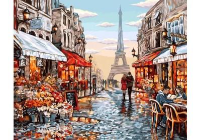 Картина по номерам KpNe-01-09 Danko Toys 40*50 см Цветочный магазин Парижа