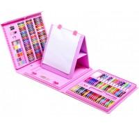 Набор для рисования с мольбертом розовый 208 предметов
