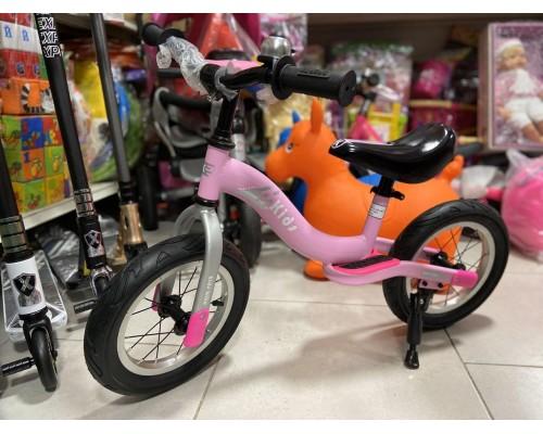 Беговел детский Kids розовый на резиновых колесах 12 дюймов