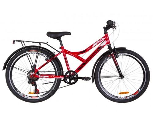 """Велосипед 24"""" Discovery FLINT MC 14G Vbr St с багажником зад St, с крылом St 2019 (красно-белый с черным)"""