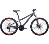 """Велосипед 24"""" Leon JUNIOR AM DD 2020 (антрацитовый с красным (м))"""