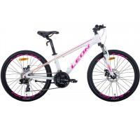 """Велосипед 24"""" Leon JUNIOR AM DD 2020 (бело-малиновый с оранжевым)"""