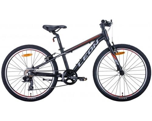 """Велосипед 24"""" Leon JUNIOR 2020 (черно-оранжевый с серым (м))"""