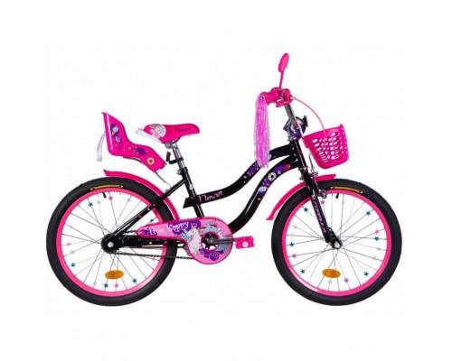 """Велосипед Formula Flower Premium 20"""" черный с розовым багажником, с крылом St 2020"""