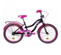 """Велосипед Formula Flower 20"""" черный с розовым багажником, рама-13"""",с крылом St 2020"""