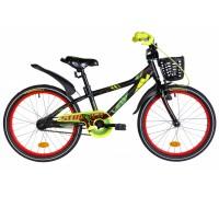 """Велосипед 20"""" Formula STORMER рама-10"""" Al 2020 черно-красный с желтым крылом и корзиной"""