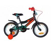 """Велосипед Velotrade 14"""" Formula RACE 2020 черно-оранжевый с бирюзовым, с крылом 2020"""