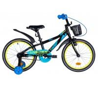 """Велосипед 18"""" Formula STORMER 2020 черно-синий с желтым крылом, с корзиной"""