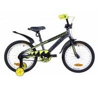 """Велосипед Velotrade Formula Wild 18"""" 2020 рама 9"""" серо-желтый с черным, с крылом"""