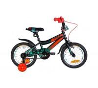 """Велосипед ST 14"""" Formula RACE рама-8,5"""" черно-оранжевый с бирюзовым с крылом Pl 2021"""