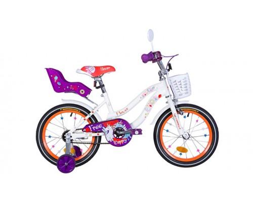 """Велосипед ST 16"""" Formula FLOWER PREMIUM рама-10"""" бело-оранжевый c фиолетовым с багажником с крылом St 2021"""