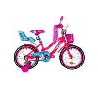 """Велосипед ST 16"""" Formula FLOWER PREMIUM рама-10"""" розовый с голубым с багажником для кукол с крылом St 2021"""