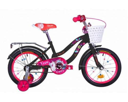 """Велосипед ST 16"""" Formula FLOWER рама-10"""" черный с розовым с багажником зад St с крылом St 2020"""