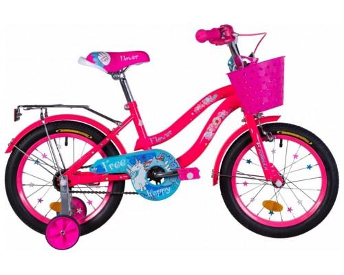 """Велосипед ST 16"""" Formula FLOWER рама-10"""" перламутровый фиолетовый с багажником зад St, с крылом St, с корзиной PL 2021"""