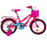 """Велосипед ST 16"""" Formula FLOWER рама-10"""" розовый с голубым с багажником зад St, с крылом St, с корзиной PL 2021"""