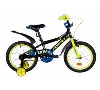 """Велосипед ST 16"""" Formula FURY рама-8,5"""" черно-желтый с синим с крылом Pl 2021"""