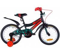 """Велосипед ST 16"""" Formula RACE рама-9"""" черно-оранжевый с бирюзовым (м) с крылом Pl 2020"""