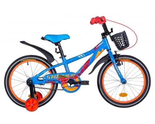 """Велосипед AL 18"""" Formula STORMER рама-9"""" сине-оранжевый с крылом Pl, с корзиной Pl 2021"""