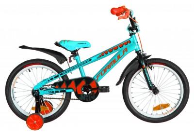 """Велосипед ST 18"""" Formula WILD рама-9"""" бирюзово-черный с оранжевым  с крылом Pl 2021"""