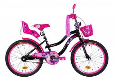 """Велосипед ST 20"""" Formula FLOWER PREMIUM рама-13"""" черный с розовым с багажником для кукол, с крылом St 2021"""