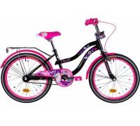 """Велосипед ST 20"""" Formula FLOWER рама-13"""" черный с розовым с багажником зад St, с крылом St 2021"""