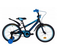 """Велосипед ST 18"""" Formula SPORT рама-9,5"""" черно-синий с голубым (м) с крылом Pl 2020"""