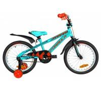"""Велосипед ST 18"""" Formula WILD рама-9"""" бирюзово-черный с оранжевым с крылом Pl 2020"""